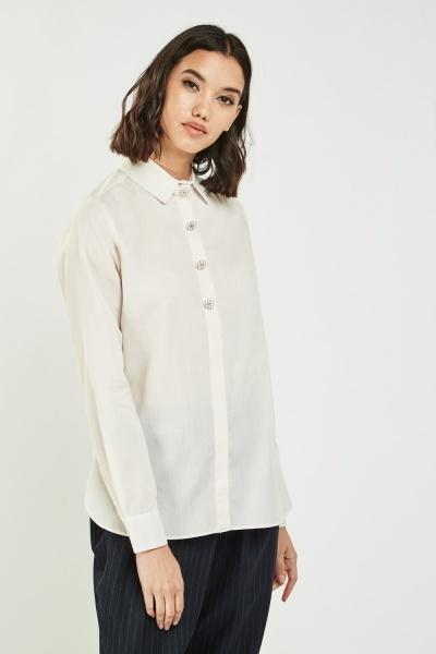 701921f01 Long Sleeve Sheer Shirt - Cream or Charcoal - Just £5