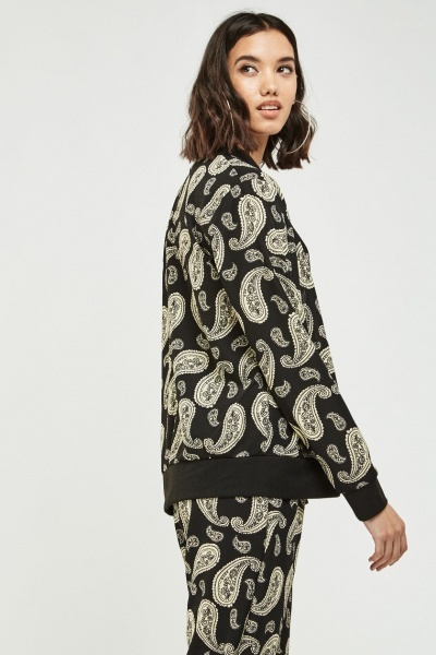 Paisley Print Bomber Jacket Black Cream Just 163 5