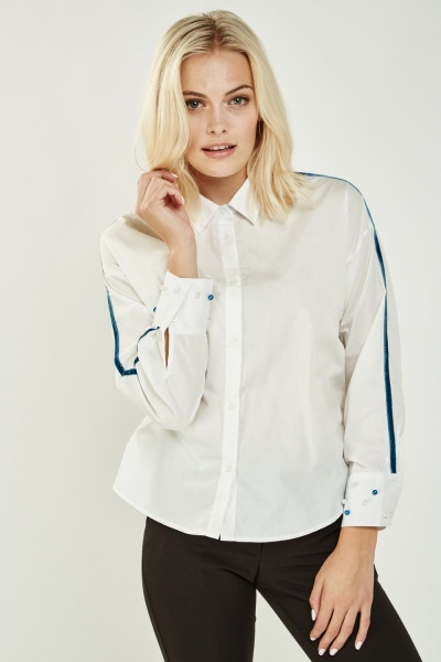 Contrasted Faux Pearl Trim Shirt