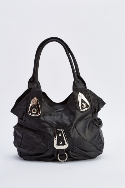 Buckle Trim Ruched Hobo Bag