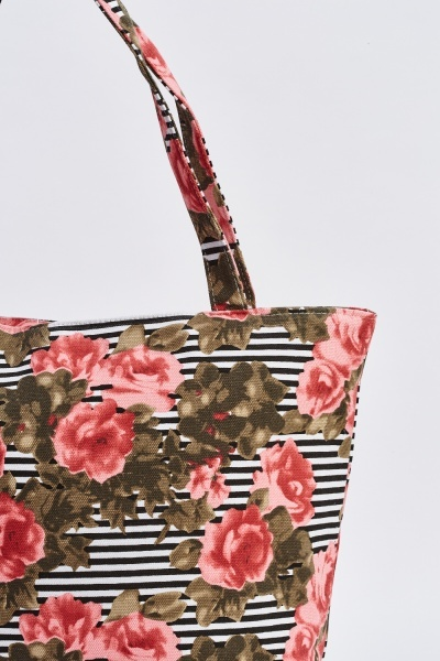 Floral Stripe Shopper Tote Bag
