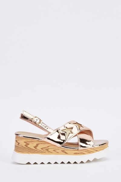 Metallic Chunky Wedge Sandals