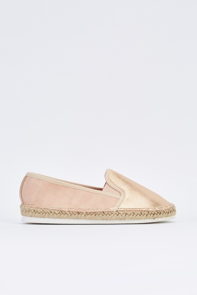 Metallic Contrasted Flat Espadrilles