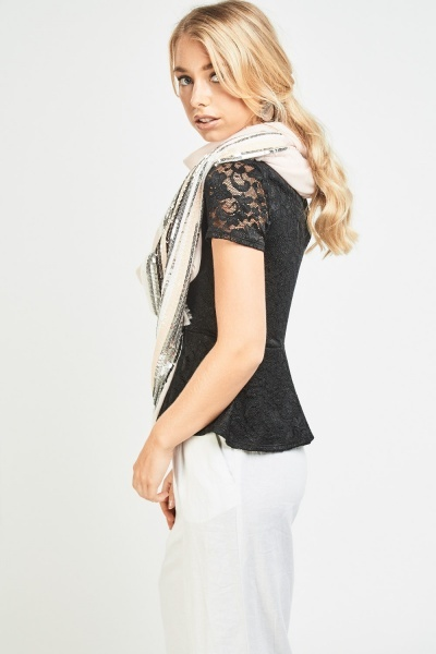 Sequin Embellished Sheer Scarf
