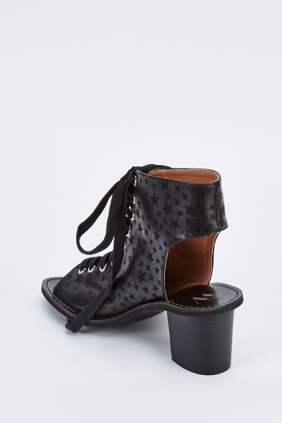 Star Printed Lace Up Boots