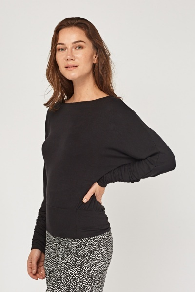 Casual Ruched Batwing Sleeve Top