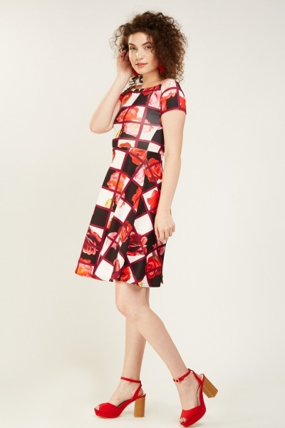 Contrasted Print Midi Flared Dress