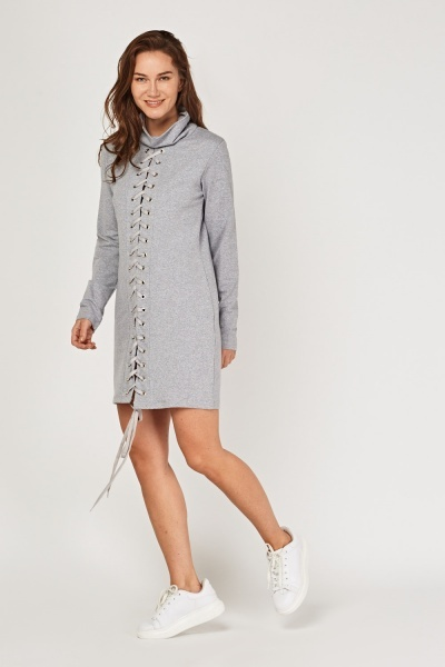 Lace Up Slouchy Neck Jumper Dress