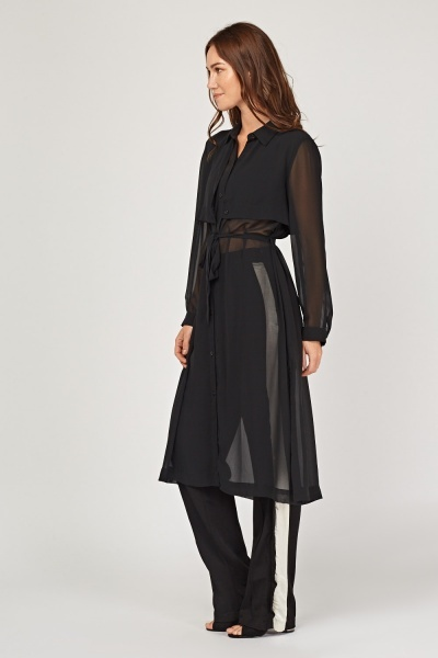 Long Line Sheer Maxi Shirt