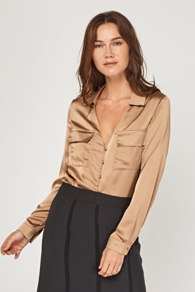 Long Sleeve Sateen Blouse