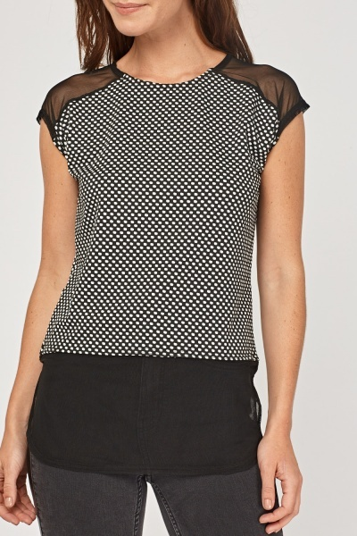 Polka Dot Mesh Contrast Top
