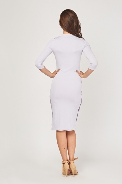 Poppers Side Midi Rib Dress