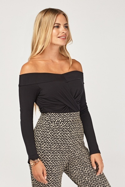 Ruched Off Shoulder Long Top