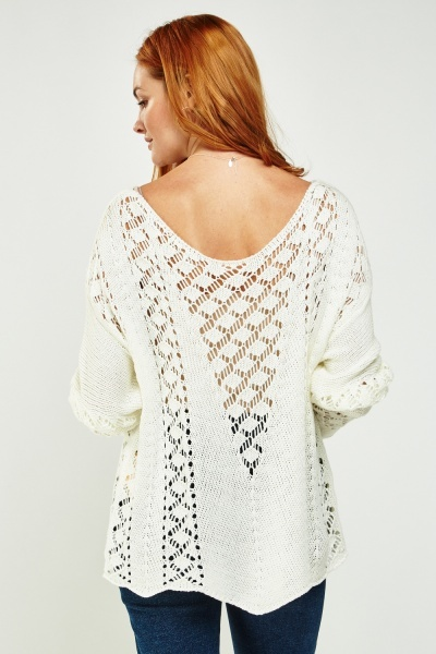 Crochet Knitted Slouchy Jumper