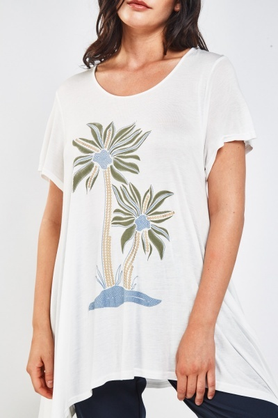 Embroidered Palm Tree Top