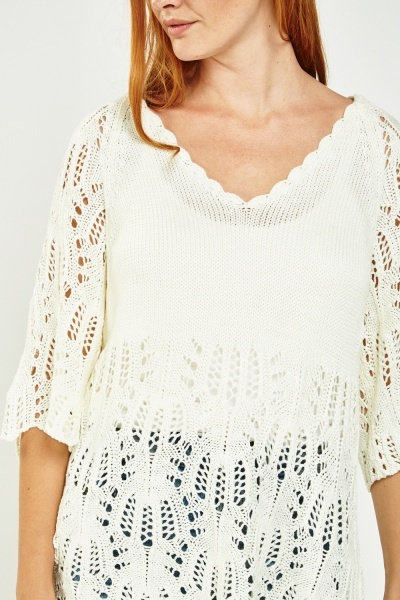 Short Sleeve Crochet Knit Top