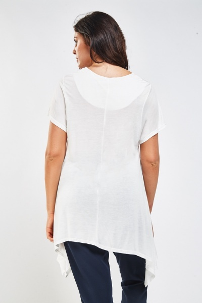 Asymmetric Printed Front Top