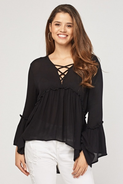 Criss Cross Flared Tunic Top