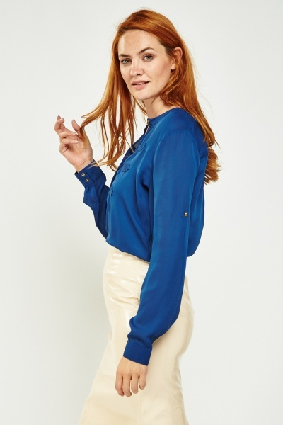 Long Sleeve Sheer Blouse