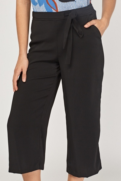 Tie Up Crop Culotte Trousers