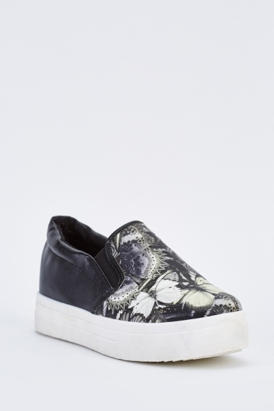 Butterfly Print Chunky Plimsolls