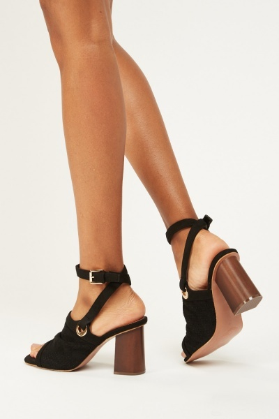 Contrasted Suedette Heeled Sandals