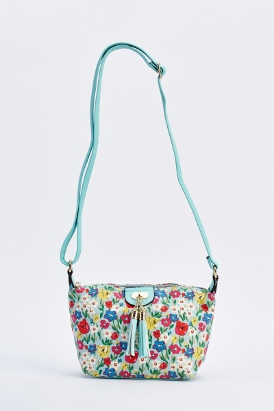 Floral Print Tassel Cross-Body Bag
