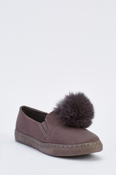 f9205606044 Pom-Pom Trim Slip On Plimsolls - Grey - Just £5