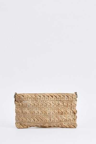 Studded Ruched Clutch Bag