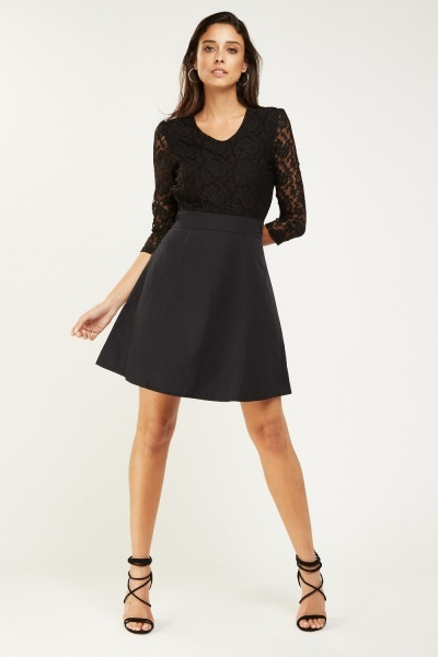 Floral Lace Bodice Skater Dress