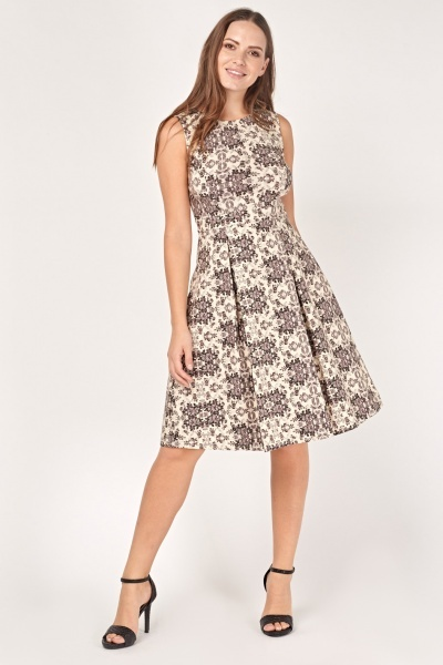 Printed Box Pleated Skater Dress
