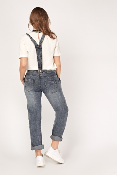 Roll Up Washed Out Denim Dungarees