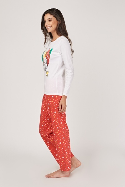Snoopy Christmas Print Pyjama Set
