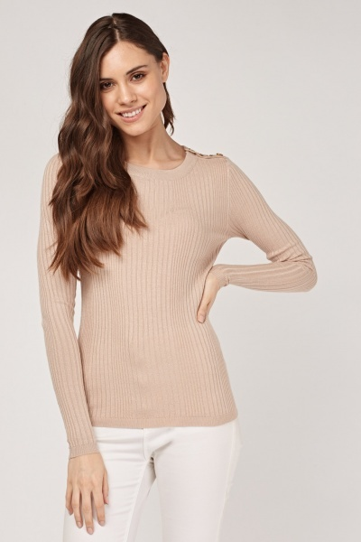 Button Insert Rib Knit Top