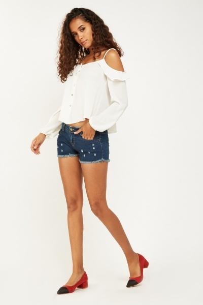 Raw Edge Petite Denim Shorts