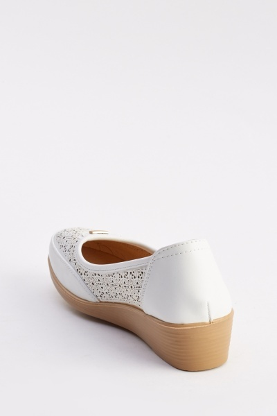 Contrast Faux Leather Ballet Pumps