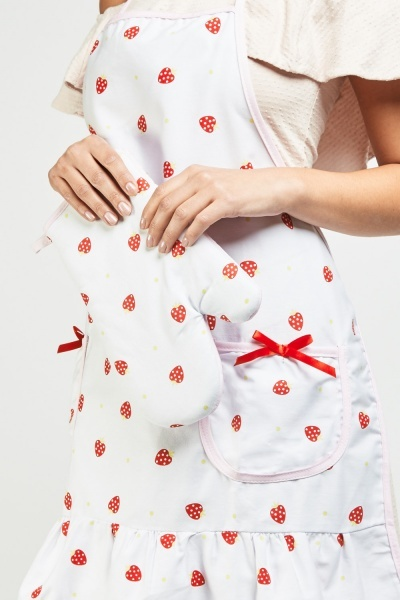 Strawberry Print Apron And Oven Glove Set