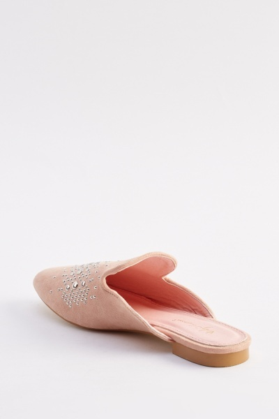 Studded Suedette Slip On Shoes