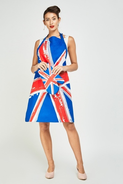 Union Jack Print Apron And Oven Glove Set