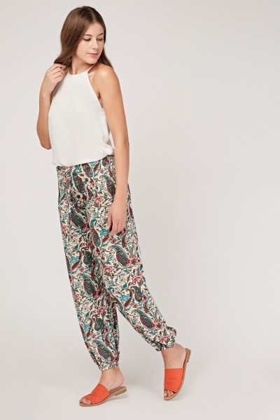 Botanical Print Casual Trousers