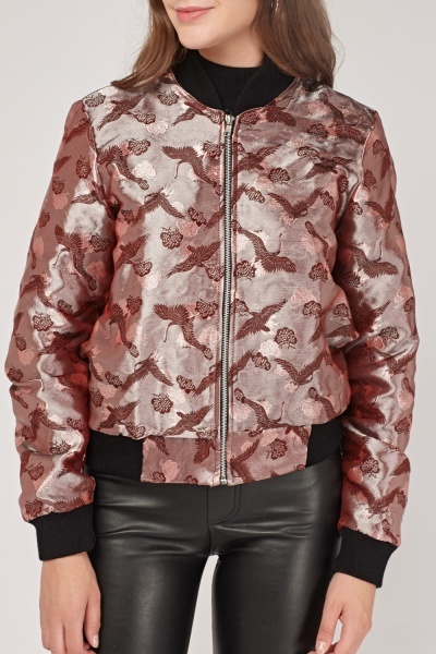 Embroidered Metallic Bomber Jacket
