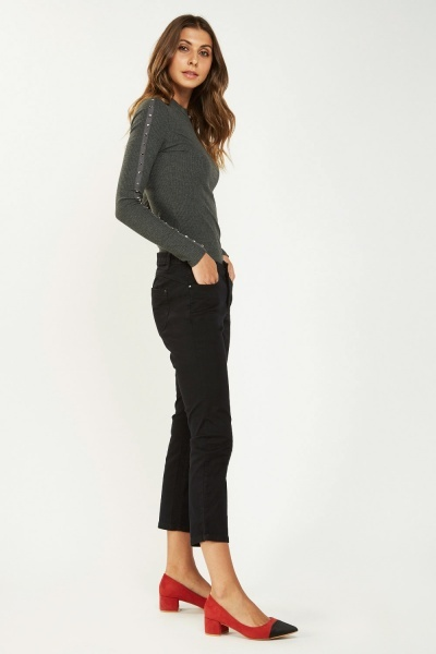 Slim Leg Casual Crop Jeans