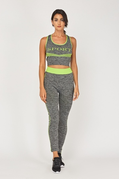 Sports Logo Top And Leggings Set