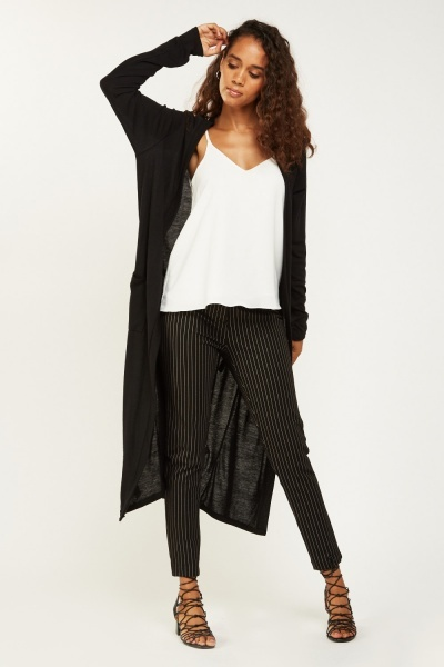 Tie Up Thin Knit Maxi Cardigan