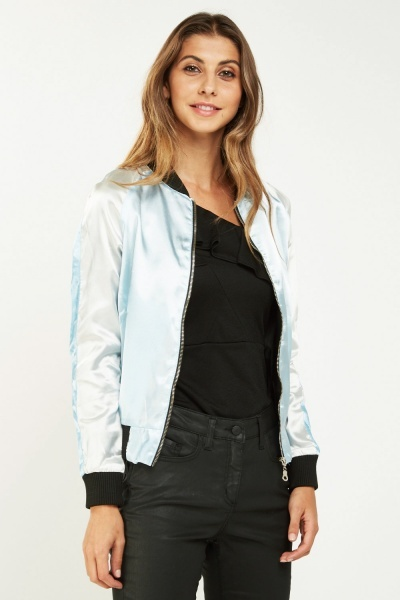 Two Tone Sateen Bomber Jacket