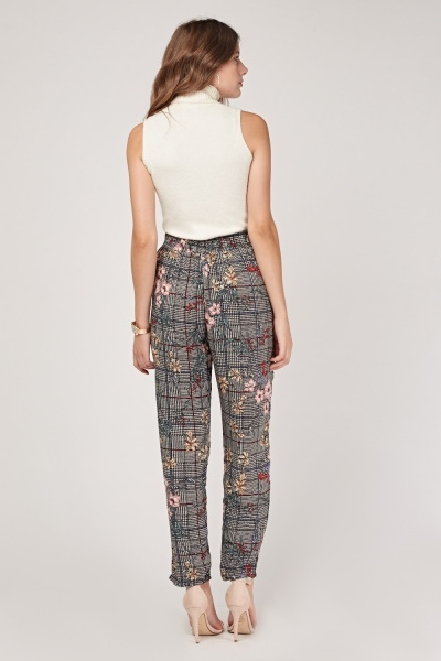 Aoral Glen Check Tapered Trousers