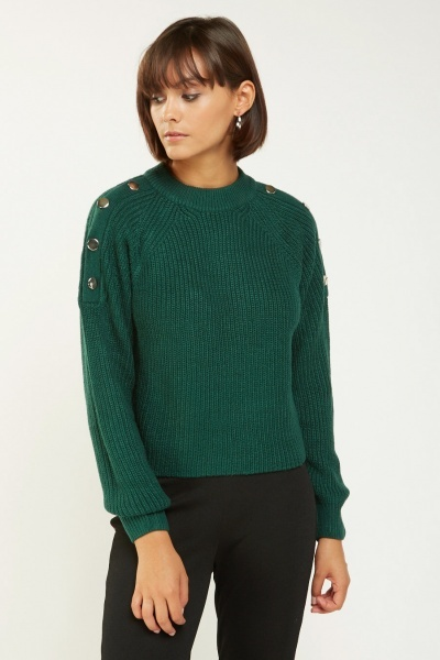 Button Insert Chunky Knit Jumper