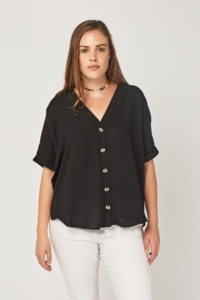 Button Up Textured Top