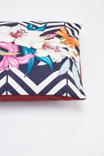 Chevron Floral Printed Cushion