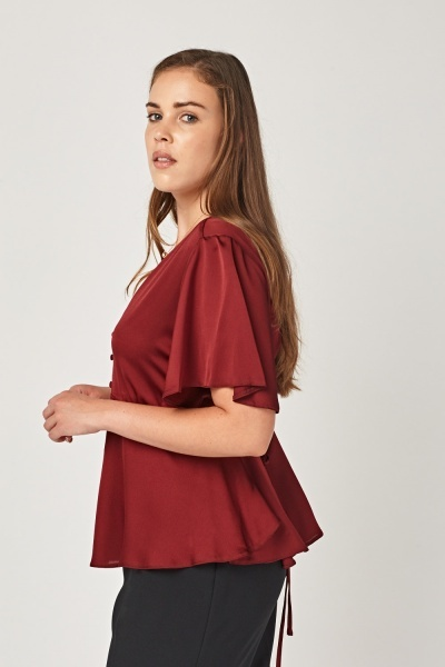Flare Sleeve Button Neck Top